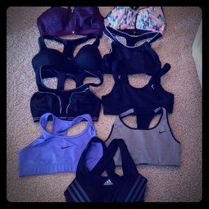 Lot of 9 sports bras